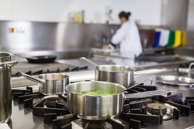 Different pots cooking on hotplate