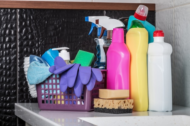 Different products and cleaning items in the bathroom
