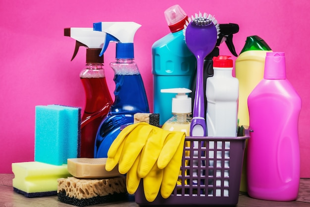 Different products and cleaning items