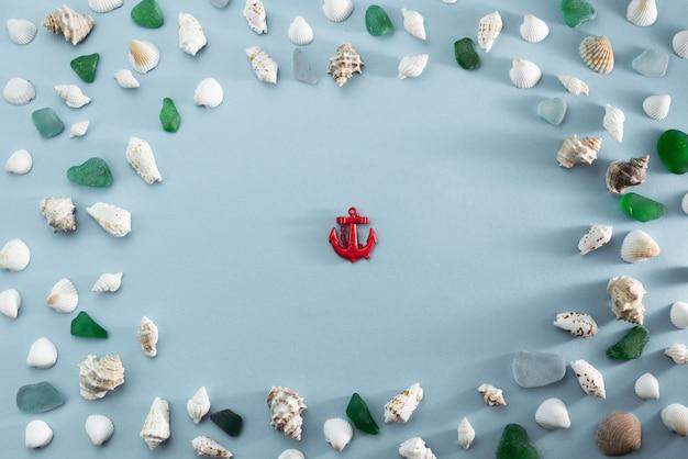灰色の背景上の異なる海の貝