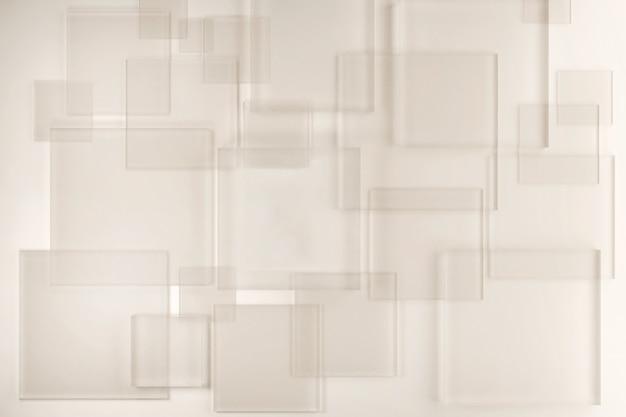 製品のデモンストレーションのための白い抽象的な背景上のさまざまなサイズとレベルの透明なガラスプレート。クリエイティブなレイアウト、3dレンダリング