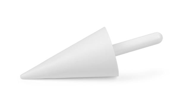 白い背景で隔離のペストリーを飾るためのさまざまなサイズと形状のステンレス鋼の歯付き絞り袋のヒント