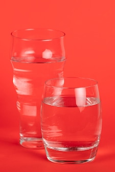 Different sized glasses with water
