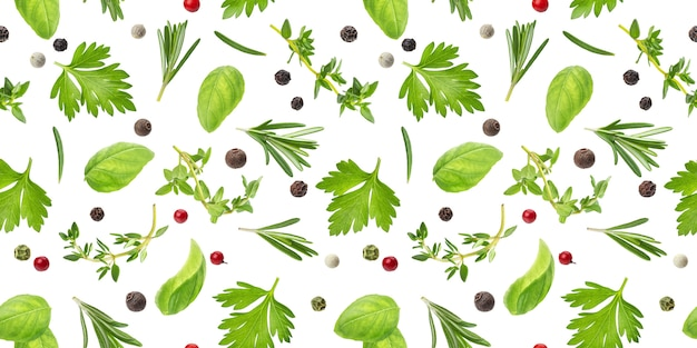Different spices and herbs seamless pattern isolated , top view