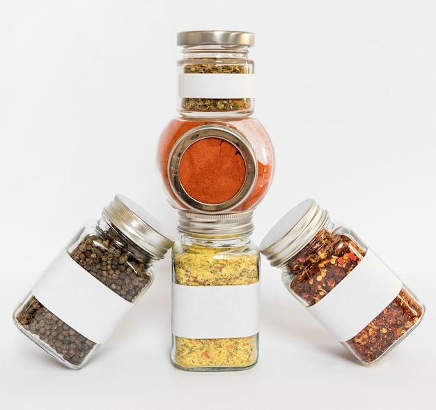 Different spices in jars arrangement