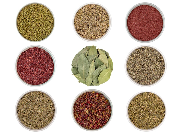 Different spices seasoning set rosemary thyme bay leafs sumac