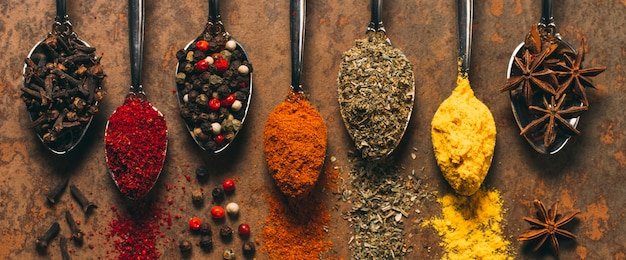 The different spices. spices on stone