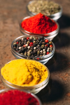 The different spices.