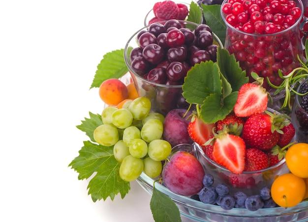 Различные летние ягоды красной смородины, крыжовника, малины в стеклянных лотках. отсортировано по типу.
