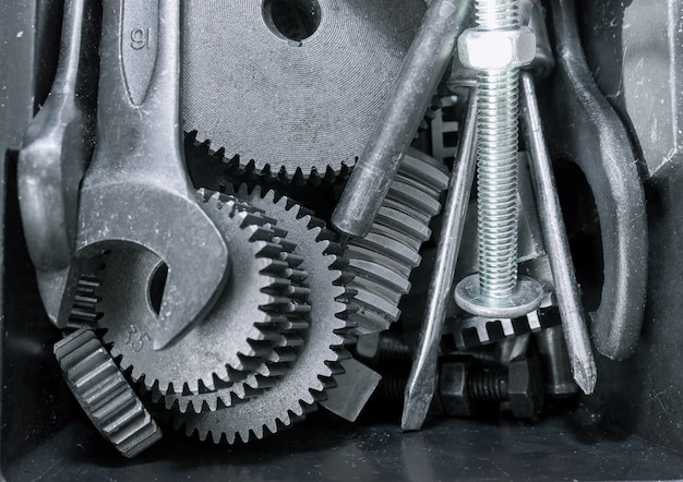 Different tools, wrench tool, gear wheels in the box