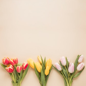 Different tulips bouquets on table