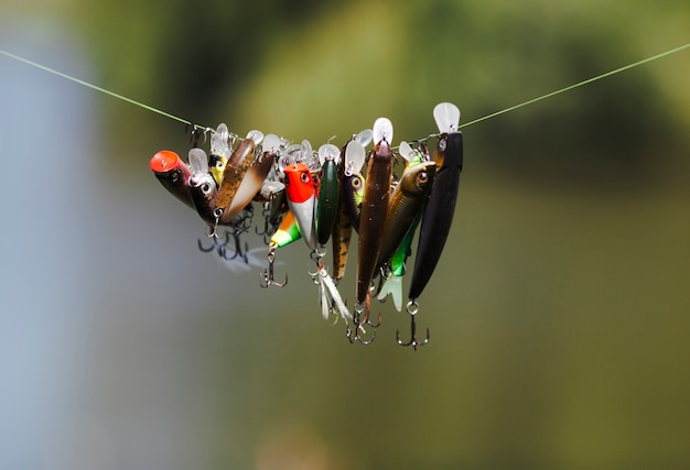 Different type of fish lure hanging on fishing line