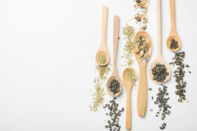 Different type of herbs on wooden spoon against white backdrop