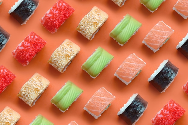 Different types of asian sushi rolls