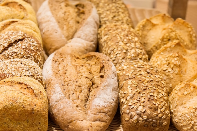 Different types of bread on the shelves