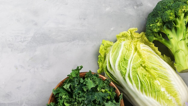 Different types of cabbage. kale, chinese cabbage, broccoli.