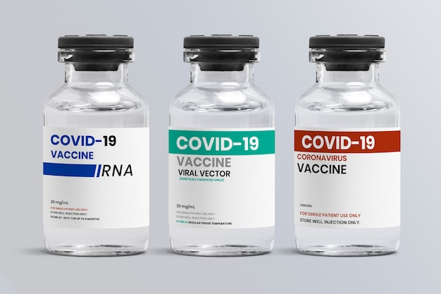 Different types of covid-19 vaccine in glass vial bottles with different storage temperature condition label