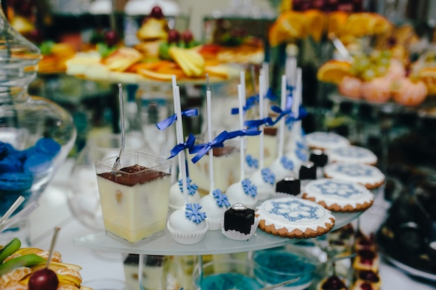 Different types of desserts for the wedding