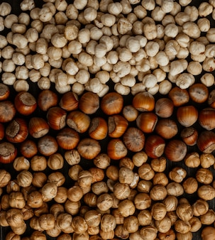 Different types of hazelnuts