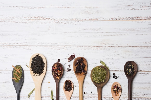 Different types of herbs on wooden spoons over white desk