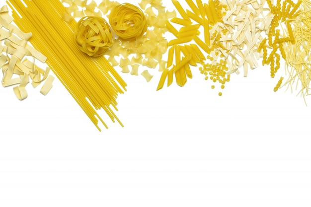Different types of italian pasta are laid out in the form of a frame