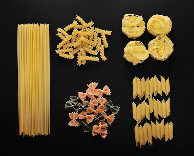 Different types of italian uncooked pasta