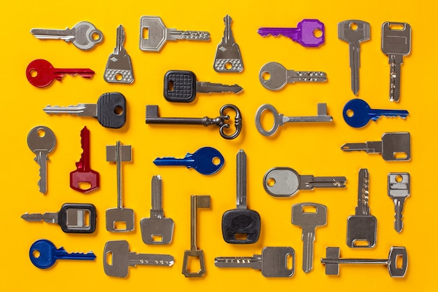 Different types of keys to duplicate placed in order, top view