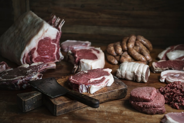 Different types of meat food photography recipe idea