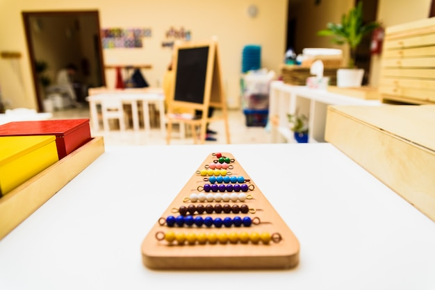 Different types of montessori educational material to use in schools for children in primary school.