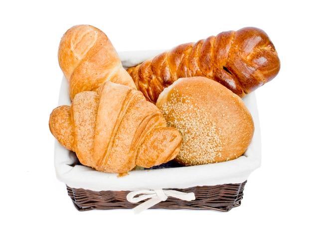 バスケットのクローズアップのパンの種類