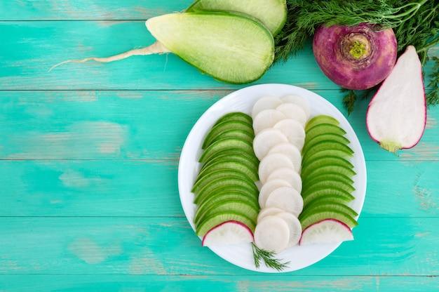 白い皿にスライスしたさまざまな種類の大根。サラダの材料である有用なビタミン根菜。上面図。フラットレイ