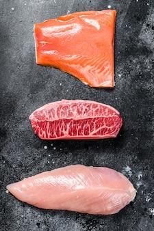 さまざまな種類の生肉