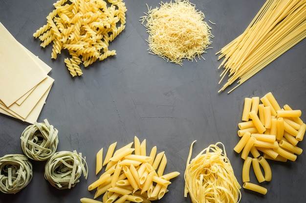 Different types of pasta from durum wheat varieties for cooking mediterranean dishes.