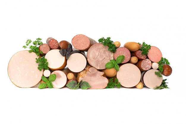 Different types of sausages. meat products, isolate, copyspace