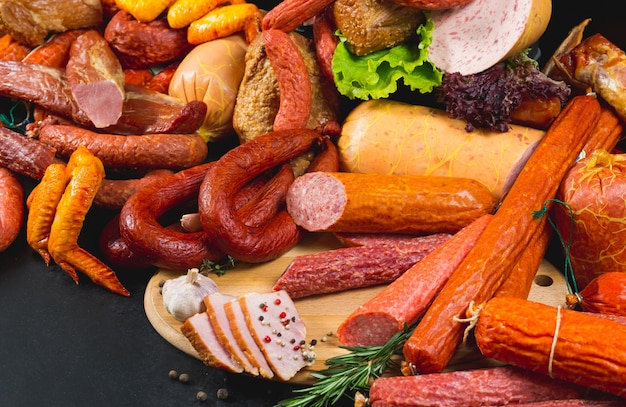 Different types of sausages and meat products