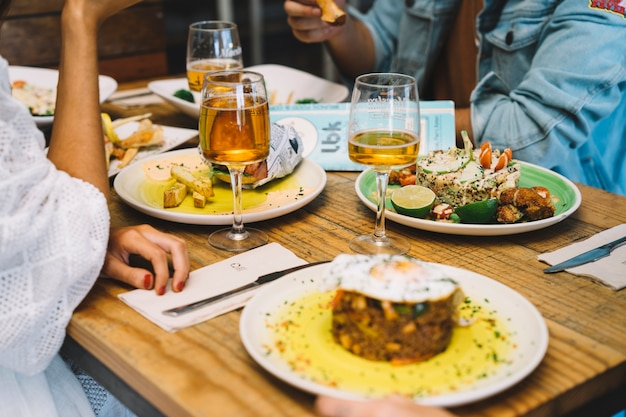 Different types of tapas on table