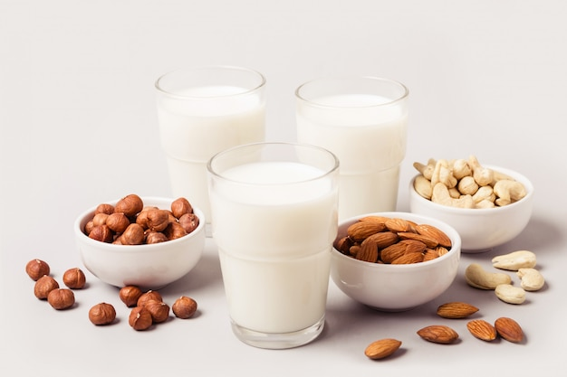 Different types of vegan non diary milk. health care and diet concept