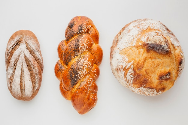 Different varieties of bread and pastry