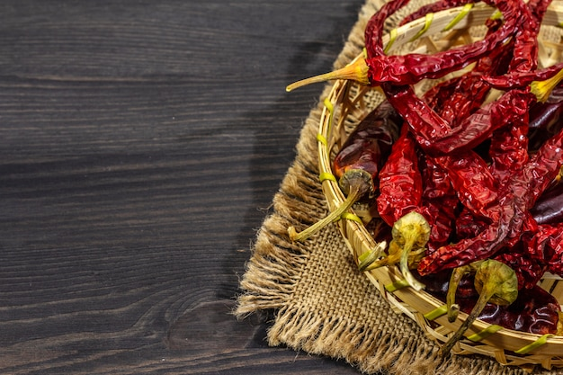 Different varieties of dry hot peppers