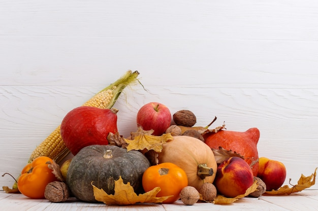 Different vegetables, pumpkins, apples, pears, nuts, corn, tomatoes and dry leaves on white wooden background. autumn harvest , copyspace.