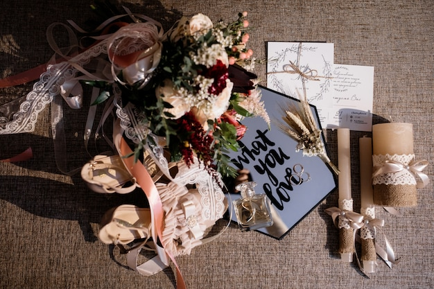 Different wedding items on the sofa