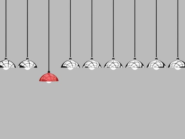 Концепция дифференциации с красной подвесной лампой