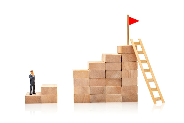 Difficult and easy way to overcome the problem in achieving the goal. businessman solves problem.
