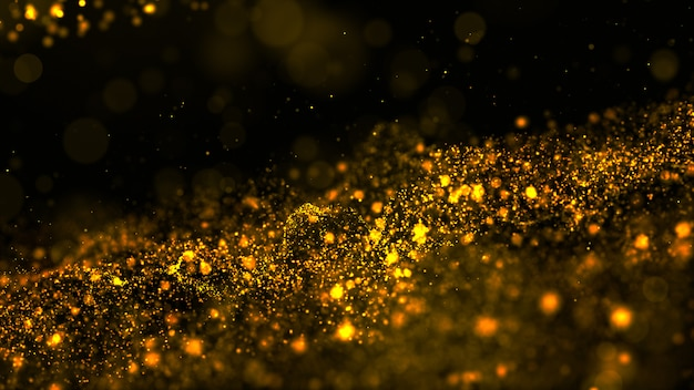 Digital abstract gold color wave particles flow and dust background