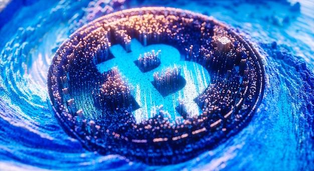 デジタルアートビットコインロゴシンボル。暗号通貨の未来的な3dイラスト。