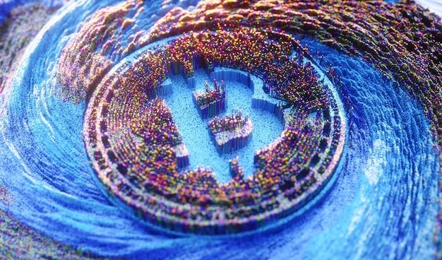 Цифровое искусство биткойн логотип символ криптовалюты Premium Фотографии
