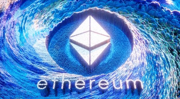 デジタルアートイーサリアムロゴシンボル。暗号通貨の未来的な3dイラスト。