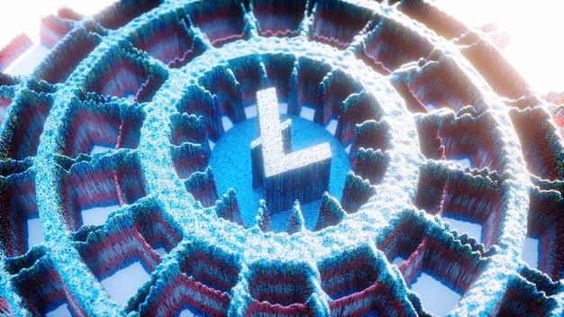デジタルアートライトコインロゴシンボル。暗号通貨の未来的な3dイラスト。