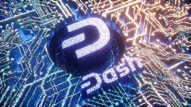 Цифровое искусство символа логотипа тире. криптовалюта футуристический 3d иллюстрации. крипто-фон.