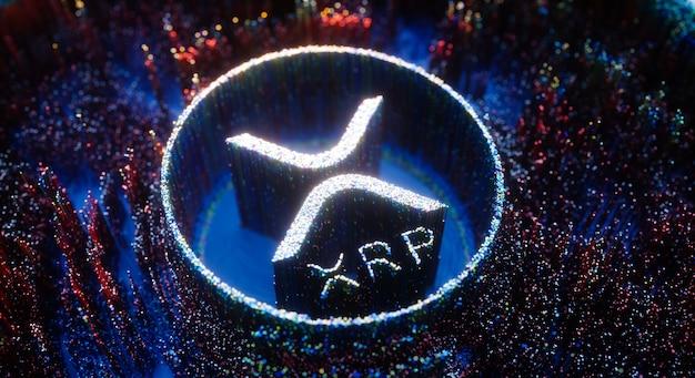 Digital art xrp logo symbol. ripple cryptocurrency futuristic 3d illustration.